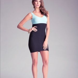 NWT Bebe high waist colorblock dress blue M/L